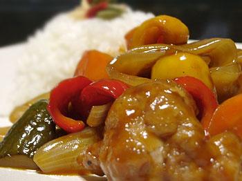 野菜たっぷりの酢鶏